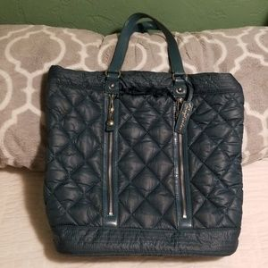 Juicy Couture Teal Blue Quilted Puffer Tote